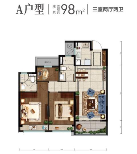 """全温州热抢的建筑面积约98㎡大三房,堪称空间""""教科书"""""""